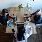 3 young women having a meeting